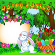 Easter background with egg and amusing rabbit — Stock Vector