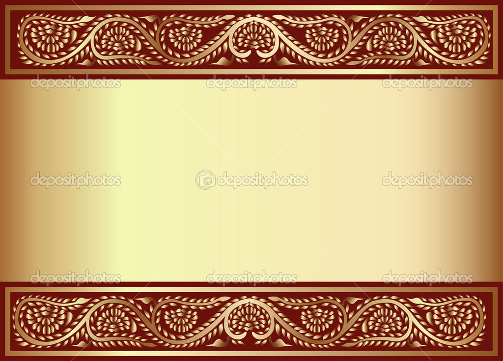 Illustration gold(en) background with band of the vegetable pattern — Stock Vector #9809672