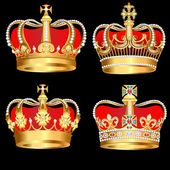 Set gold crowns on black background — Stock Vector