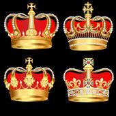 Siyah zemin üzerine altın kron ayarla — Stok Vektör