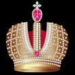 Gold(en) royal crown with ruby - Image vectorielle