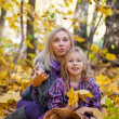Royalty-Free Stock Photo: Happy mum and the daughter play autumn park