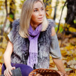 Beautiful  girl on walk in autumn park — Stock Photo