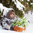 Little girl in a winter wood with the big basket of snowdrops — Stock Photo #9294292