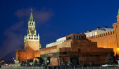 Spasskaya tower of Kremlin, night view. Moscow, Russia — Stockfoto