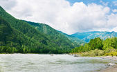 Mountains river with rocky riverside. — Stock Photo