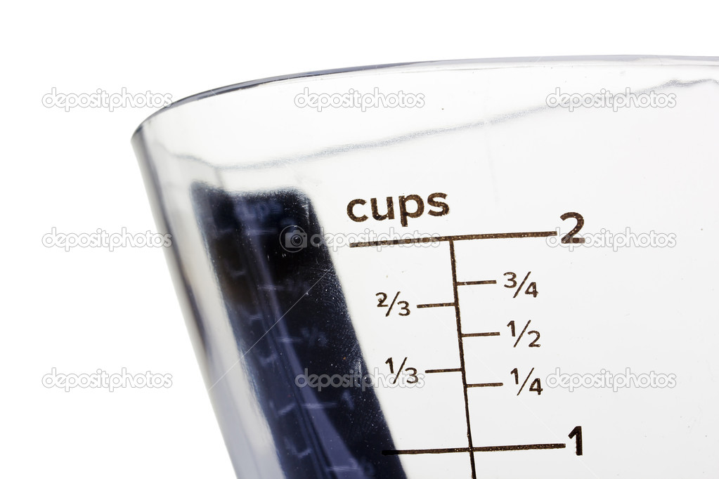 Close-up photograph of measurements on a glass container.  Stock Photo #10127091