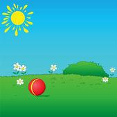 Газон с мячом — Cтоковый вектор