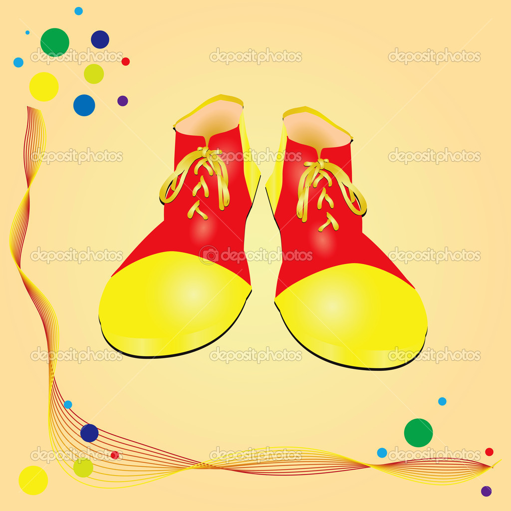 The circus theme clown shoes. Vector illustration. — Stock Vector #10460046