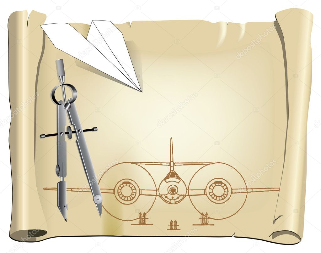 Parchment with a drawing for a model aircraft with a paper airplane. Vector illustration.  Stock Vector #10545756