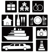 Set of wedding icons — Stock Vector