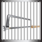 Prison bar and hacksaw — Stock Vector