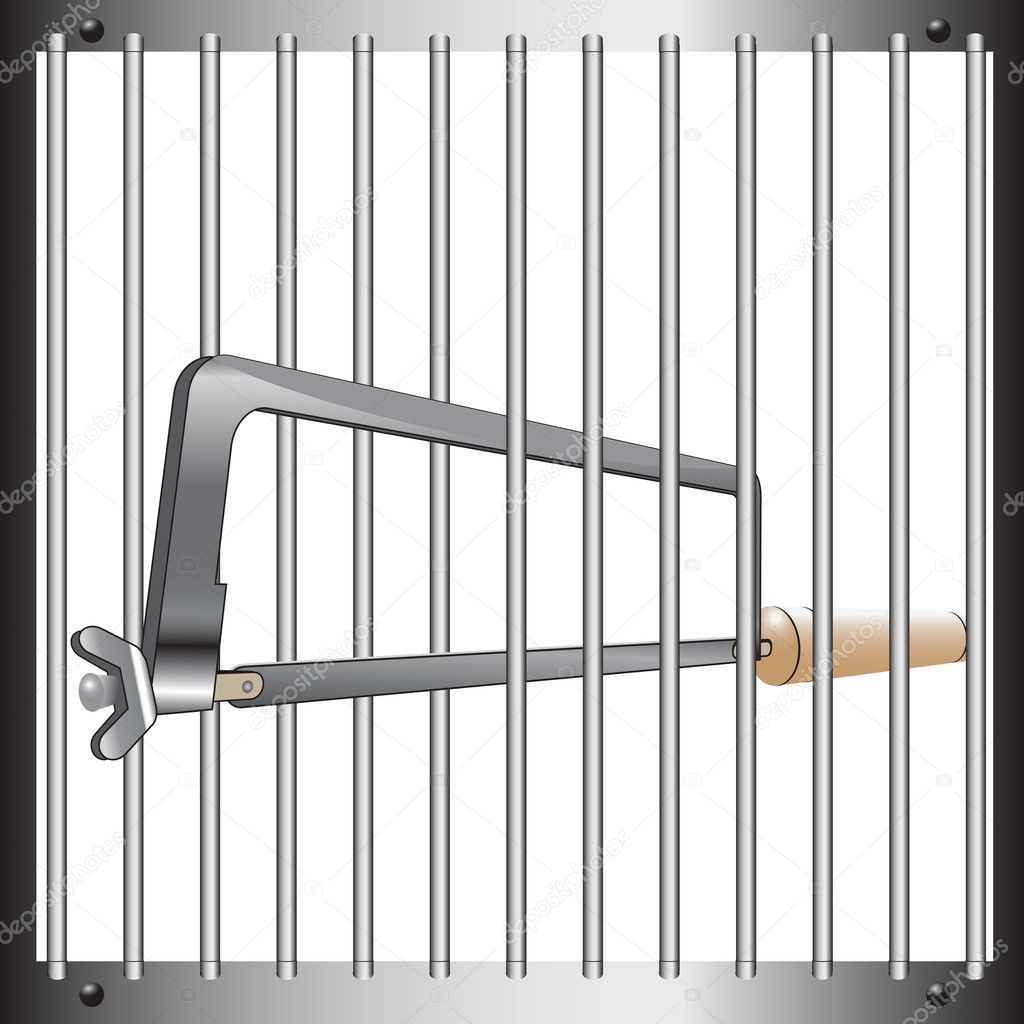 Prison bars with a hacksaw. Vector illustration. — Stock Vector #10697622