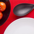Plates and Tomatoes — Stock Photo