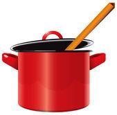 Enameled saucepan — Stock Vector