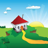 House on a cliff — Stock Vector