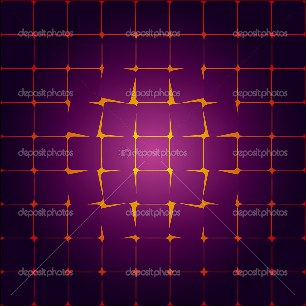The destruction of the geometric pattern. The cells are destroyed from the center. Vector illustration. — Stock Vector #9678300