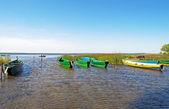 Ancorata nella baia di piccola barche di legno — Foto Stock
