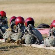 Helmets and parachuts packed - Foto Stock