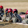 Helmets and parachuts packed - ストック写真
