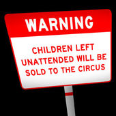 Funny warning about children unattended — Stock Photo