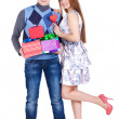 Young couple with gifts — Stock Photo #8986748