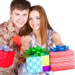 Stock Photo: Young couple with gifts
