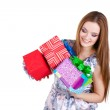 Beautiful girl holding gifts isolated — Stock Photo