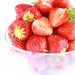 A lot of Fresh red strawberries isolated — Stock Photo