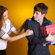 Stock Photo: Young couple with a gift