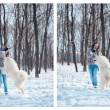 Stock Photo: Happy woman with Samoyed dog in winter forest