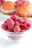 Bowl of raspberries close up — Stock Photo
