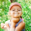 Beautiful Happy Little Girl outdoor with emotions — Stock Photo