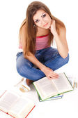 Student with books, isolated on white — Stock Photo