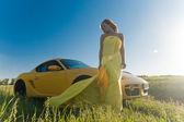 Sexy in giallo — Foto Stock