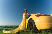Sexy in yellow — Stock Photo