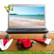 Laptop on suitcase — Stock Photo