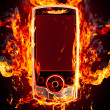 Burning phone - Stock Photo