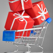 Closeup of a shopping cart with gifts — Stock Photo