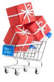 Carrello con regali — Foto Stock