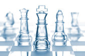 Transparent glass chess isolated on white — Stock Photo