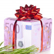 Gift box made of euro — Stock Photo #8081636