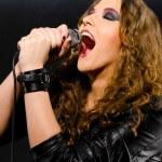 Singing rock song — Stock Photo