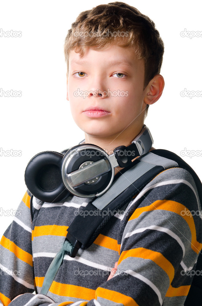 Teenager boy with headphones on white background — Stock Photo #9472342