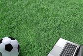 Laptop na zielonej trawie — Zdjęcie stockowe