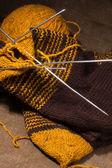 Sciarpa lana con ferri. — Foto Stock