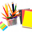 Stock Photo: Notepads with stationary objects