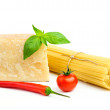 Basic Ingredients for spaghetti — Stock Photo