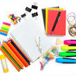 Notepad with stationary objects  — Stock Photo