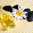Chamomile, oil and stones — Stock Photo